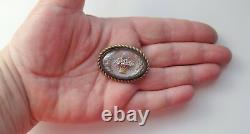 Antique Victorian Reverse Painted Essex Crystal Glass Basket w Roses Pin Brooch