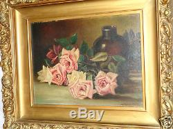 Antique Victorian Rococo Frame Artist Signed Floral Roses Oil Painting