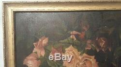 Antique Victorian Rose Oil Painting Pink & White Roses Gold Frame 18 x 12.5
