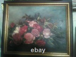 Antique Victorian Roses Fine Painting, Framed