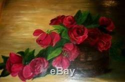 Antique Victorian Roses Oil Painting 1911 Large Wood Gesso Ornate Modern Frame