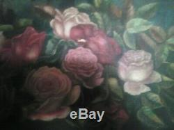 Antique Victorian Roses Painting, Framed