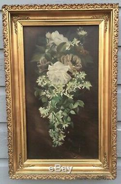 Antique Victorian still life WHITE ROSES oil painting Magnificent Vintage Frame