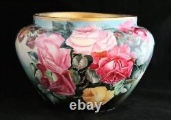 Antique Vienna Austria Hand Painted Roses Artist Signed Planter Jardiniere Pot