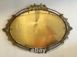 Antique Vintage Brass Rococo Ornate Roses Convex Glass Oval Picture Frame Metal