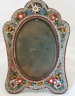 Antique Vintage Italian Micro mosaic Inlaid Art Glass Easel Picture Frame ROSES