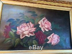 Antique Vintage Old Roses FRAMED GOLD GESSO PINK RED Canvas Oil Painting Shabby