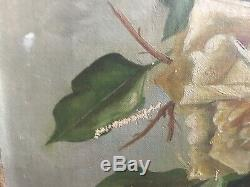 Antique Vintage Shabby Old Yellow Roses Canvas Oil Painting