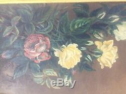 Antique Vintage Yellow Red Roses Oil Painting Framed Still Life Floral