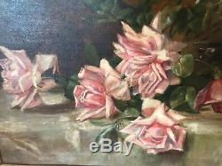 Antique / Vintage pink rose roses oil painting on board