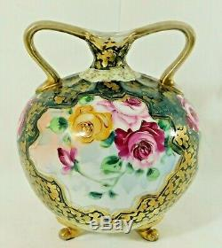 Antique/Vtg 7.25 Hand Painted ROSES Nippon Footed Flower Bud Vase with Handles