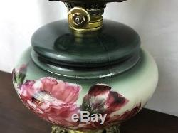 Antique Vtg Gone With The Wind Oil Lamp Victorian Parlor Painted Pink Rose Green