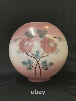 Antique Vtg Hand Painted Glass Ball Oil Lamp Shade Globe Pink Roses, GWTW, Piano