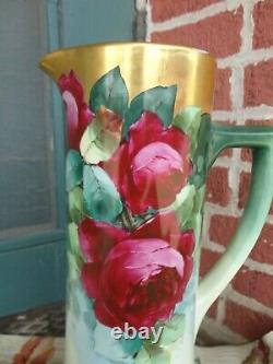 Antique Wg Limoges Hand Painted Signed Roses Heavy Gold Porcelain Tankard