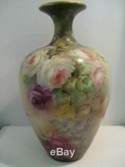 Antique Willets American Belleek Vase, Hand Painted Roses Circa 1900