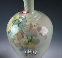 Antique Willets Belleek Hand Painted Porcelain Large Vase with Yellow Roses
