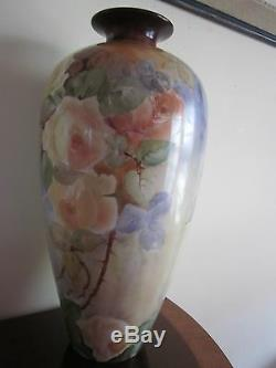 Antique Willets Belleek Hand Painted Yellow Roses Vase 16