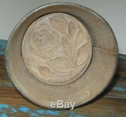 Antique Wooden Lg Rose Butter Stamp/press In Old Green Paint Over Grey