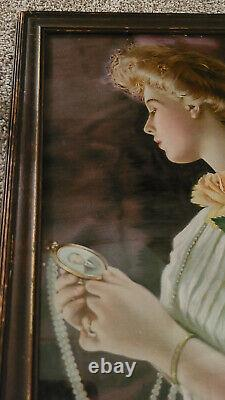 Antique Yard Long Picture of Victorian Lady with Yellow Roses-in Original Frame