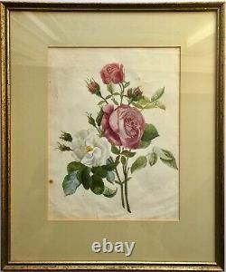 Antique c1920s Original Roses Floral Flowers Pencil Drawing Watercolor Painting