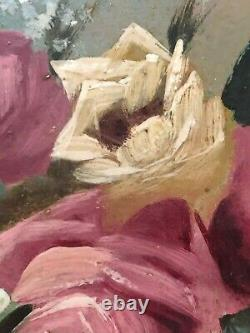 Antique oil painting Floral Botanical Still Life early 1900's Roses
