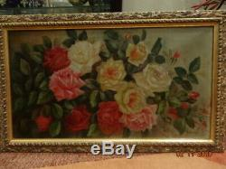 Antique oil painting ROSES by artist H. Bellis