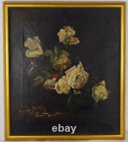 Antique oil painting white roses 1900, 14 x 16