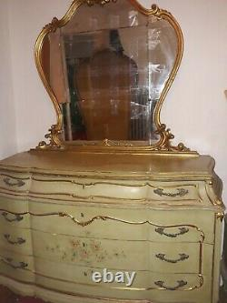 Antique painted roses gold trim bedroom set ornate French queen 5 piece plus