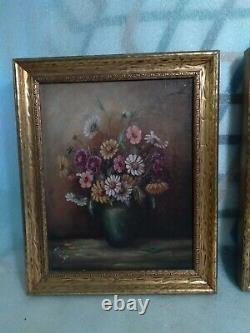 Antique pair framed flower. Roses painting on board signed 1920s