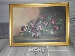 Antique red rose painting on canvas by laurie