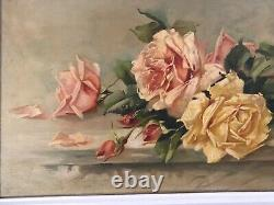 Antique rose oil painting canvas board 1923 beautiful yellow peach pink roses
