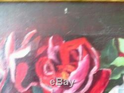 Antique rose oil painting, pink, yellow, red roses on canvas