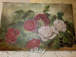 Antique vintage pink blush red roses oil painting farm cottage french country