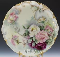 Antiques Limoges Hand Painted Rose Plate