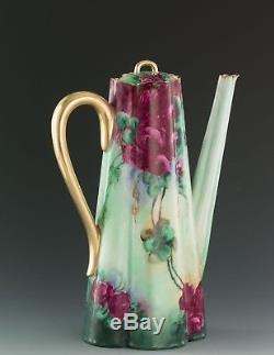 Antiques Limoges Hand Painted Roses Chocolate Pot
