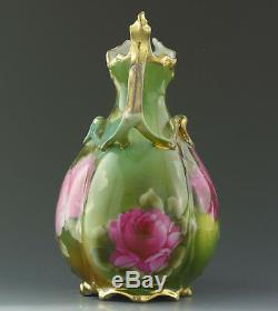 Antiques Nippon Hand Painted Roses Ewer Vase