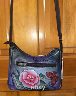 Anuschka Antique Rose Pewter Hand Painted Leather Organizer Crossbody Purse Nwt