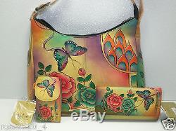 Anuschka Hand-Painted Leather Hobo Handbag /Phone Case/Wallet/Antique Rose NWT
