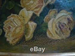 Awesome Antique Victorian Yellow Roses Ca 1900 Gesso Frame Sunday Afternoon 0/c