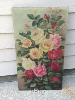 BIG antique original OIL PAINTING STILL LIFE ROSES pink yellow SIGNED 15 x 27