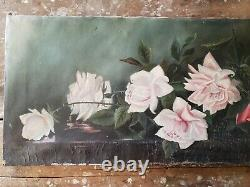 BREATHTAKING Antique Pink Rose Oil Painting Spilling out of Glass Bowl 2 FOOT