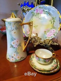 Bavaria Hand Painted Large Rose Chocolate Coffee Tea Pot, Artist Signed, Dated