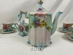 Beautiful Antique 17 PIECE RS PRUSSIA HAND PAINTED ROSES TEA SET