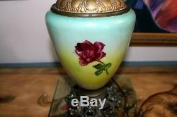 Beautiful Hand Painted Gone with the Wind Oil Lamp (GWTW) Banquet Lamp with ROSES