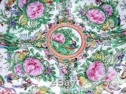 Beautiful Rose Medallion Vintage Post 1920 Bluebirds & Rose Painted Chinese Dish