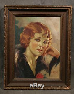 Beautiful Young Lady 1930's Art Deko Antique Realistic Chick with Fur & Rose