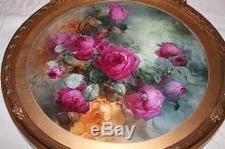 Breathtaking Large 16 1/2 JPL Limoges Porcelain Plaque with HAND PAINTED ROSES