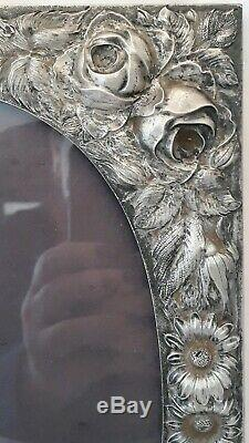 C1928 Sterling Silver Repousse Stieff Photo Picture Frame Roses