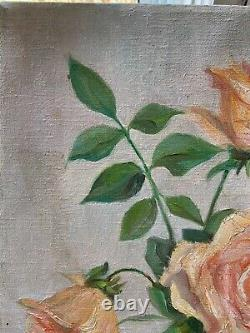 CHIC Vintage Yellow Roses Oil Painting CANVAS SHABBY COTTAGE BOTTLE PEACH PINK