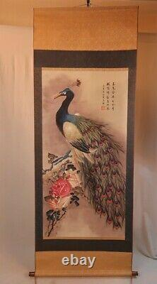 CHINESE PAINTING HANGING SCROLL Peacock CHINA Antique OLD PICTURE Rose e358